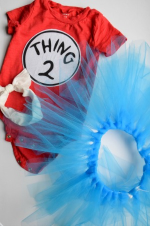 Coordinate with your little one and go as Thing 1 from the Dr. Seuss book The Cat in the Hat. The Thing 1 u0026 2 numbers are iron-on cutouts from Party City ...  sc 1 st  Columbus Moms Blog - City Moms Blog Network & Easy and Affordable DIY Halloween Costumes