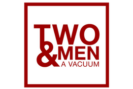 Two men and a vacuum logo