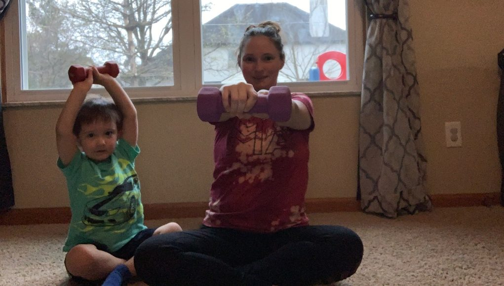 working out at home with kids