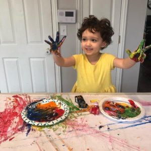 messy fun with paint and cars