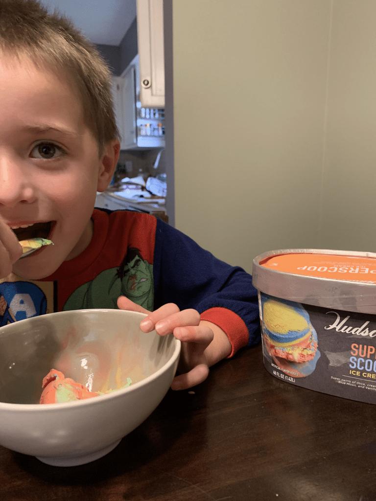 enjoying a bowl of ice cream