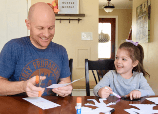 crafting with dad and daughter