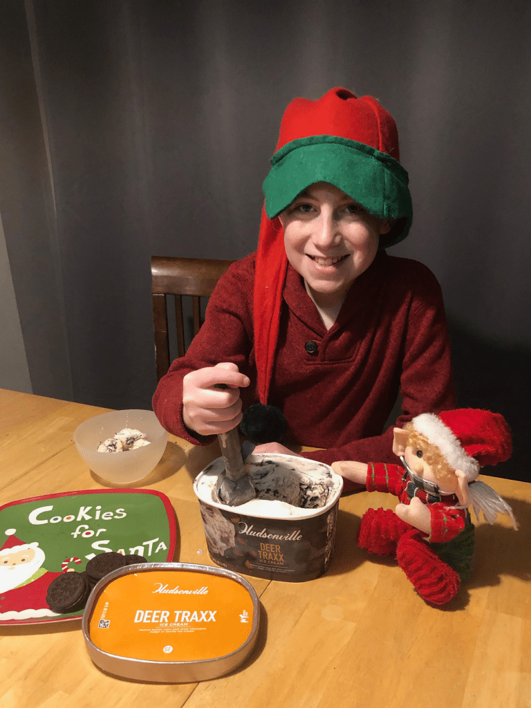 ice cream and cookies for Santa
